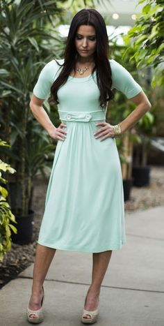 Bailey Modest Dress in Mint ---> this site has super cute modest skirts and dresses!