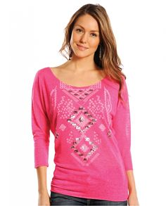 Rock & Roll Cowgirl® Ladies' 3/4 Sleeve Knit Tee