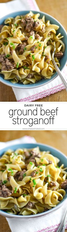 Easy (Dairy Free) Ground Beef Stroganoff | simplywhisked.com (needed 1Tbs cornstarch and used a mixed package of mushrooms) SO GOOD! #husbandapproved