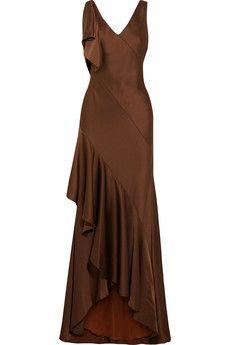Jason Wu Asymmetric ruffled satin-crepe gown | NET-A-PORTER