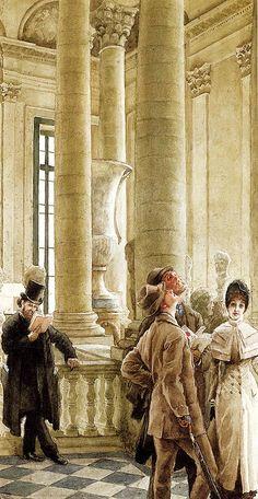 James Jacques Joseph Tissot (1836-1902)  Au Louvre  Pencil and watercolor