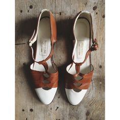 vintage twotone leather tstrap flats  size 7 by lippedlove on Etsy, $45.00