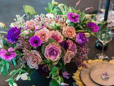 modern purple centerpiece http://greenweddingshoes.com/modern-industrial-wedding-inspiration/  Photo by Jeff Brummett Visuals
