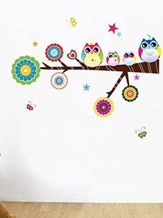 es.buyvip.com  Vinilo adhesivo decorativo con forma de rama con estrellas y búhos. Medidas largo árbol: 75 cm Pegatinas de pared de alta calidad, color duradero, no se cae fácilmente, sin borde blanco y no refleja el fondo de la pared. Se puede acoplar a todas las superficies lisas como paredes, puertas, ventanas, armarios, plástico, metal, azulejos, la sala de los niños, pasillo, dormitorio, etc. Nota: no se puede usar en las paredes ásperas y las paredes desiguales.