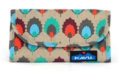 KAVU Mini Keeper-Pueblo Print-Tri-fold canvas wallet with snap closure, internal cash and check book slots, credit card and ID holders, pen slot and one external zip pocket. Dimensions: 7.5
