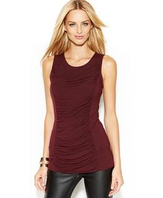 INC International Concepts Sleeveless Ruched Top - Tops - Women - Macy's