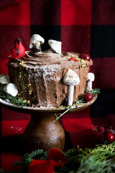 Yule Log Layer Cake with Sour Cream Frosting - Hither & Thither Sour Cream Frosting, Sour Cream Cake, Yule Log Cake, Biscuits, Crockpot Dessert Recipes, Christmas Desserts, Christmas Meals, Christmas Goodies, Christmas 2016