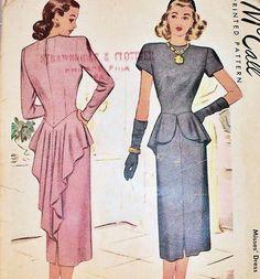 1940s peplum blouses patterns | 1940s McCall Pattern 7019 Cocktail Dinner Dress Striking Swallow Tail ...