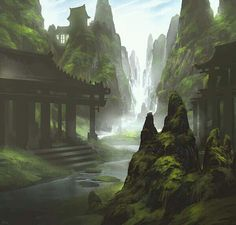 An unreal place, maybe an ancient japan temple after a waterfall forest