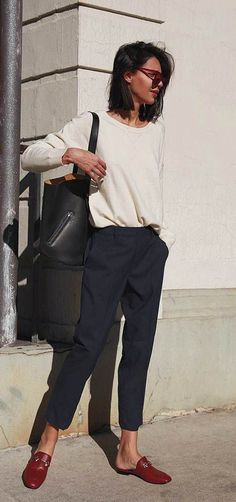 30 Trendy Outfits For When Youre Bored of Everything You Own - Loafers Outfit - Ideas of Loafers Outfit - trendy outfit idea / white pullover bag pants red loafers Fashion Mode, Work Fashion, Street Fashion, Trendy Fashion, Winter Fashion, Fashion Trends, Trendy Style, Fashion Ideas, Trendy Hair