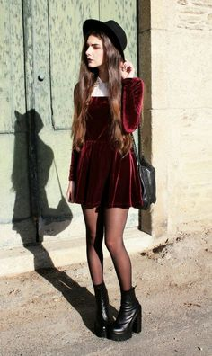 Absolutely in love with the dark burgundy red velvet dress, black sheer tights, black boots, and black brimmed hat.
