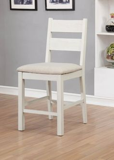 Furniture of America Galveston Rustic Counter Height Chairs, Set of White
