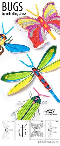 Great craft project for kids - printable templates to make insects with drinking straws!