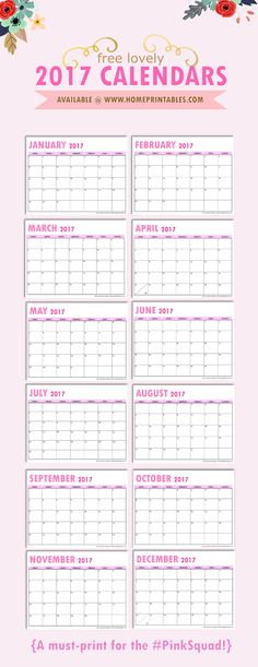 Looking for a pretty free printable 2017 calendar to print? Here's a monthly calendar set to love! Calling all ladies who love pink! This lovely and dainty