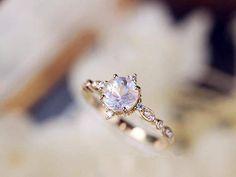 Moonstone Engagement Ring 18k Gold Moonstone Wedding Ring