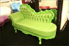 Green Pol Art chaise lounge.