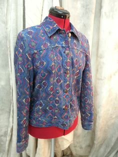 Coldwater Creek Stretch Jean Southwestern Embroidered Jacket sz SM