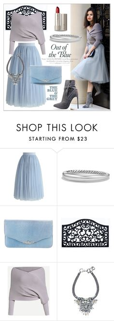 """""""Tulle: Blue and Grey."""" by tjclay3 ❤ liked on Polyvore featuring Chicwish, Yves Saint Laurent, Ilia, David Yurman, Judith Leiber, Blue, grey and polyvoreeditorial"""