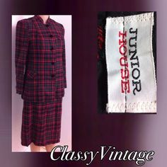 1960's Junior House plaid suit. Beautiful 4 piece suit. Jacket, vest, skirt and pants. This is a wool blend suit. Lined.  Tag size 13. No issues. Pants = waist 26,inseam 27.5 to a narrow bottom pant. Skirt  has a wide elastic band with snaps and zipper. Waist  is 29 and length 26 inches. The top of skirt waist is ruffled. Vest has two velvet covered buttons and trim. Bust 36 and length 16.5. Jacket has 4 covered buttons two faux pockets. Bust  36 and length 24.5 Junior House Dresses
