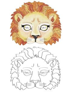 We've created a black and white Lion mask and colored Lion mask, choose your preference. Then cut all around, cut holes for the eyes, and punch a sm...