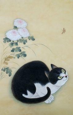 <변상벽의 국정추묘 2> 먹선으로 고양이와 국화꽃만 흐리게 그린다.국화 잎은 몰골법으로 칠할터라 ...