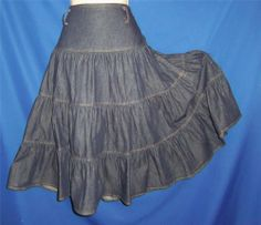 "Tiered Western Blue Denim Prairie Boho Broomstick Skirt S-M  26-30"" waist"