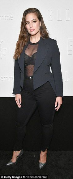 Twins! Ashley Graham (l) and Jasmine Tookes (r) both rocked a lace bra beneath sheer cover ups with trousers