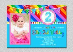 Rainbow Birthday Invitation Rainbow Birthday Party Invitation. I like how this one includes a photo.