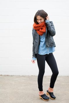 mommy blogger leggings casual outfit date outfit scarf chambray leather jacket winter outfit infinity scarf pop of color edgy fall outfit