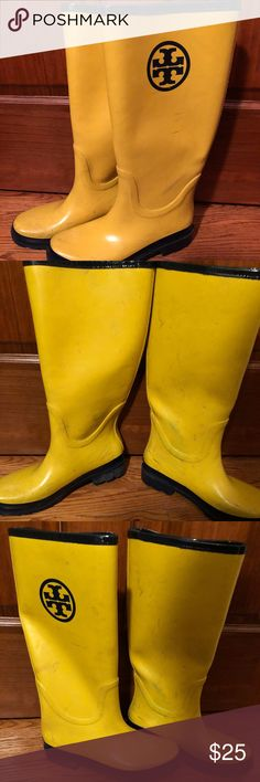 "TORY BURCH Paddington Yellow Wellies Rain Boots 8 TORY BURCH  Paddington Yellow & Blue  Knee-High Wellington ""Wellies"" Rain Boots  Size 8 US  Not in great condition, price reflects it. For someone who wants to clean the yard in Tory Burch! Lol, I would clean the yard in Tory Burch but alas life w little kiddies only has time to slip on Uggs, no more cute in the yard for me! Tory Burch Shoes Winter & Rain Boots"