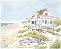 Beach Cottage & Boat - Fine Art Print