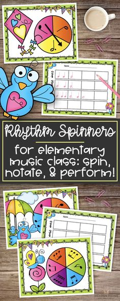 Practicing rhythm can be so much fun, and what better way to review rhythms than with this printable or projectable Springtime Rhythm Spinners game for elementary music students! Kids spin, notate, and perform their rhythms. Perfect for centers, group activities, piano lessons, the music classroom, music camps, and more! Perfect for single players or multiple players. Includes rhythm spinner pages and notation sheets. Fidget spinners work great with this activity!