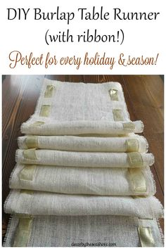 DIY Burlap Table Runner- This burlap table runner is so pretty and perfect for any holiday! Get the full tutorial here! | decorbytheseashore.com  - linked up at DIY Crush Craft Party http://www.diy-crush.com