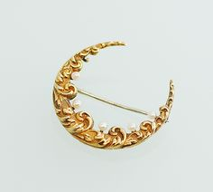 Antique Art Nouveau 14k Yellow Gold and Seed Pearl Crescent Moon Brooch by SITFineJewelry on Etsy https://www.etsy.com/listing/130464385/antique-art-nouveau-14k-yellow-gold-and