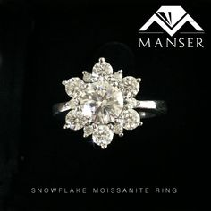White gold ring with moissanite stones. We made this ring to resemble a snowflake design. Snowflake Engagement Ring, Engagement Rings, Snowflake Designs, Moissanite Rings, White Gold Rings, Ring Designs, Snowflakes, Diamond Earrings, Wedding Rings