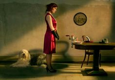 A beautiful Old English Sheepdog in an Edward Hopper-like setting that I find just a tad unsettling.