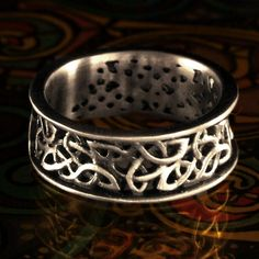 Celtic Wedding Ring With Open Cut-Through Knotwork Design Sterling Silver, Gold, Palladium, or Platinum Made in Your Size 1140