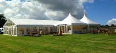 Wrexham Marquee Hire - exterior view with a double 6m pagoda entrance and comfy sofa area.
