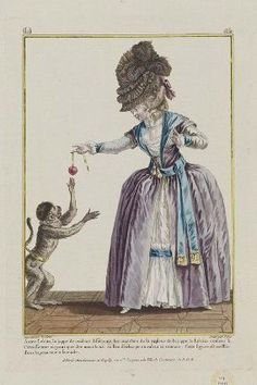 Gallerie des Modes, 1780. This plate has everything! A purple and blue dress, a giant hat, and a monkey!