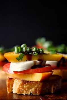Peach, Tomato and Mozzarella Crostini:  Baguette sliced and toasted in olive or butter  Fresh peaches, sliced thin  Fresh tomatoes, sliced thin  Fresh mozzarella sliced  Fresh basil, sliced into thin ribbons  Coarse salt and fresh pepper  Balsamic vinegar    Place toasted baguette slices on a serving tray. Top with a slice of peach, a slice of tomato, a slice of mozzarella, and a second slice of peach. Sprinkle generously with salt and pepper. Top with basil and drizzle with balsamic…