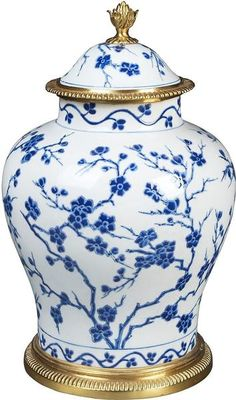 Cherry Blossom Jar // Hand painted porcelain glazed Jar in raised cream cherry blossom motif with brass décor // Model # Blue And White Fabric, Blue And White Vase, Willow Pattern, Painted Jars, Hand Painted, Blue Pottery, Tea Art, Blue China, Arte Floral