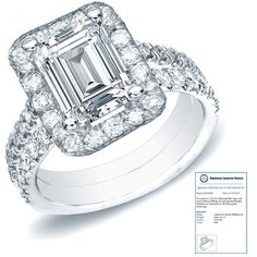 $1229.99 - 1 Carat Certified Diamond 14K White Gold Emerald Cut Bridal Set