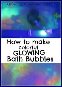 These GLOWING bath bubbles are simple to make and so fun!  They illuminate the whole room!