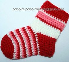 Sock (started on toes, added ankle & ended at the cuff) Crochet Pig, Crotchet, Crochet Hooks, Free Crochet, Baby Booties, Sewing For Kids, Crochet Clothes, Christmas Stockings, Doll Clothes