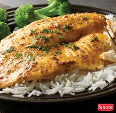 Curried Baked Fish with authentic Basmati Rice! (recipe link attached)