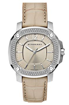 9f536afec01 Burberry The Britain Diamond Bezel Alligator Strap Watch available at   Nordstrom super Chic and elegant