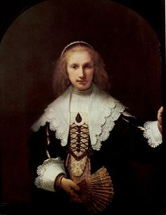 """""""I do not like the idea of happiness – it is too momentary – I would say that I was always busy and interested in something – interest has more meaning to me than the idea of happiness."""" (Georgia O'Keeffe) Art:""""Lady with a Fan"""" 1641, Rembrandt van Rijn."""