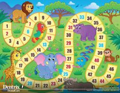 Board Game Area Rug by Lunarable, African Safari Concept Wildlife Elephant Hippo Giraffe Lion Happy Exotic Play, Flat Woven Accent Rug for Living Room Bedroom Dining Room, x 5 FT, Multicolor Board Game Themes, Board Games, Math For Kids, Games For Kids, Board Game Template, Math Stem, Picture Tree, Diy Games, Teaching Activities