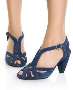 Chelsea Crew Carly Blue Suede Double T Strap Peep Toe Heels