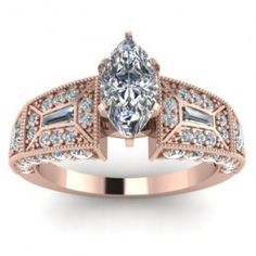 Marquise Round & Baguette Diamond Engagement Ring